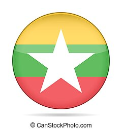 button with flag of Myanmar, Burma - button with national...