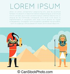 Egypet Thoth banner - Vector image of the Thoth the god of...