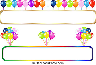 Frame With Balloons Bunches - Golden And Colorful Frame With...