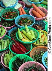 ASIA THAILAND BANGKOK NONTHABURI MARKET - chili at the...