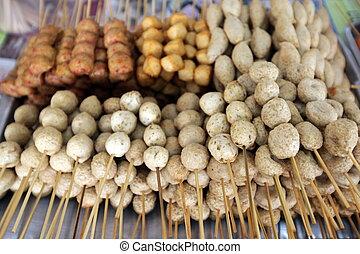 ASIA THAILAND BANGKOK NONTHABURI MARKET - meet sticks at the...