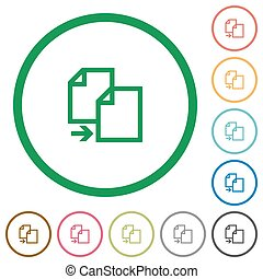 Copy outlined flat icons - Set of copy color round outlined...
