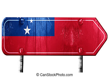 Samoa flag, 3D rendering, road sign on white background -...