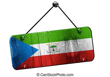 Equatorial guinea flag, 3D rendering, vintage grunge hanging...
