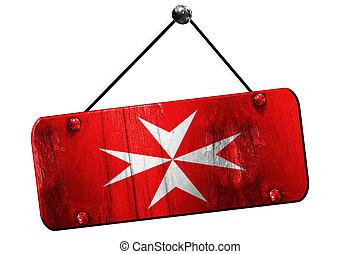 Malta knights flag, 3D rendering, grunge hanging vintage...