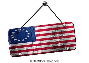 America flag , 3D rendering, grunge hanging vintage sign -...