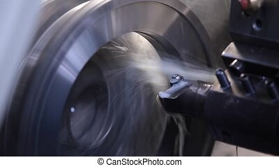 CNC milling process with water flow and waste