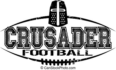 crusader football - distressed crusader football team design...