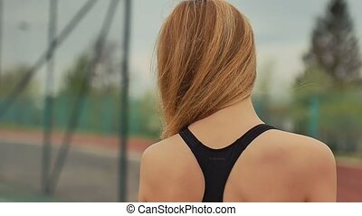 girl on touching hair for sports slow motion - girl on...