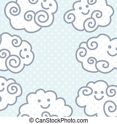 Funny cartoon clouds background with space for your text design.
