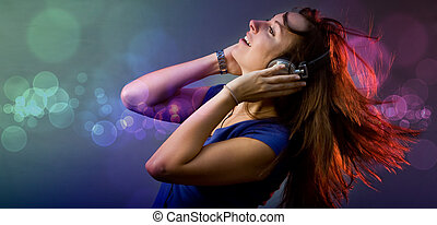 Disco deejay girl - Young girl having fun at a disco or...