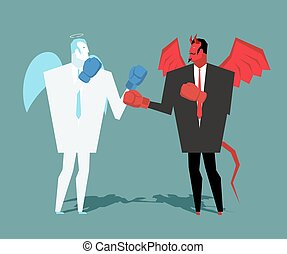 Battle heaven and hell. Angel and demon combat. Satan and angel are boxing. war between devil and angel. Lucifer in business suit and contend gloves cherub
