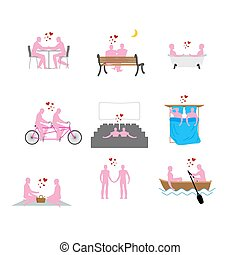 LGBT silhouettes set. Pink people in movie theater. Lovers...