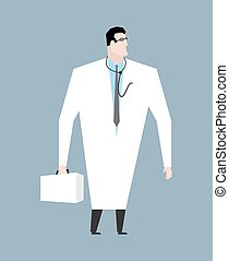 Doctor in white coat. Doc with stethoscope. Medical worker...