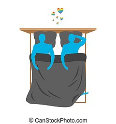 Gays in bed. Lovers in bed top view. Two blue people are in bed. Smoking after sex. Heart with love LGBT radugoy- symbol. Pillow and blanket. Smoking a cigarette after making love. Romantic illustration