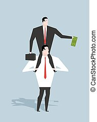 Business motivation. Boss stimulates manager job. Director sitting on neck of an employee. Monetary stimulation. Dollar in hand. Cash earnings. Award at work