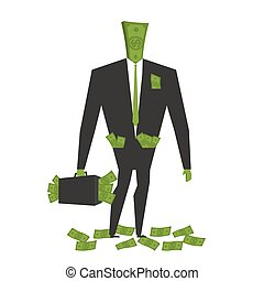 Money man. Dollar  Monster. human wite cash. Bundle of dollars. Businessman rich. Case with money. rich boss. Sack of money for head. finance person
