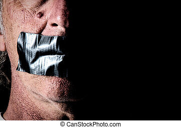 duct tape over mouth of man - NOTE: Self portrait with...