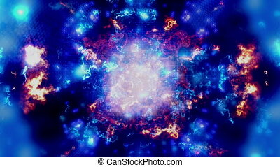 Blue cosmic eruption looping animated background