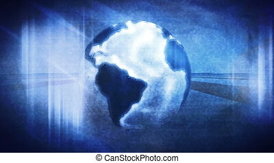 Globe blue abstract motion loop