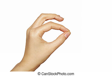 Pinching hand isolated - Pinching,showing or pulling woman...