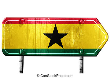 Ghana flag, 3D rendering, road sign on white background -...
