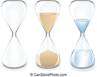 Sand Clocks - Sand, Water and Empty Clocks, Isolated On...