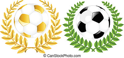 Two Soccer Balls With Wreathes