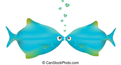 Kissing Fishes - Two Blue Fishes Kissing, Isolated On White