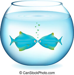 Kissing Fishes - Two Blue Fishes Kissing In Aquarium,...