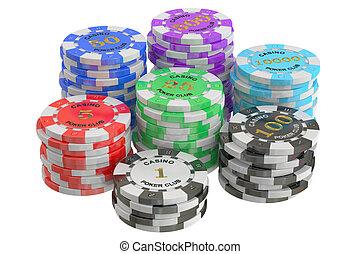 Casino Tokens stack, 3D rendering
