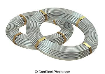 coils of steel wires, 3D rendering