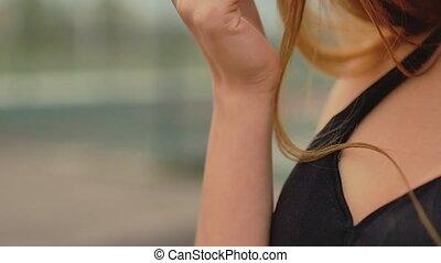 sad blonde girl portrait touching hair slow motion - sad...
