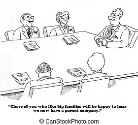 Parent company - Business cartoon about acquiring a company.