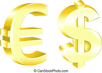 Dollar And Euro Signs, Isolated On White
