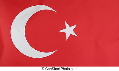 Closeup of national flag of Turkey moving in the wind