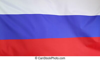 Fabric national flag of Russia moving in the wind