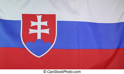 Closeup of national flag Slovakia - Closeup of a fabric...
