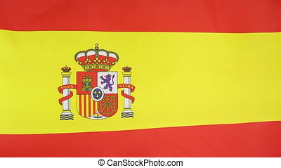 National flag of Spain moving in the wind