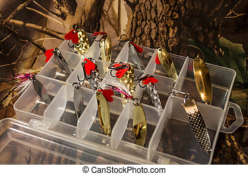 Set of oscillating spinners in the plastic box - a set of...