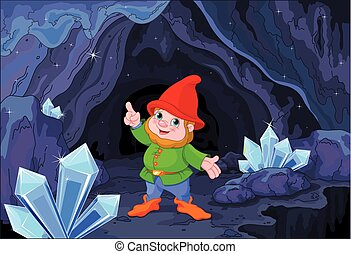 Gnome - Illustration of cute gnome close to fairy cave