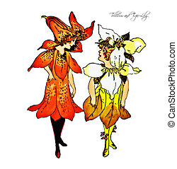 Flower Children Trillium and Tiger- - Vintage Flower...