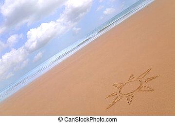 Sonnig, sandstrand