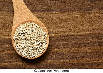 crudo, blanco, Quinoa, granos,