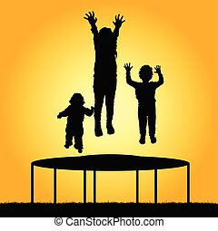 children jump silhouette illustration