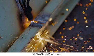 Gas Welder Makes a Slit on Metal Plank . Industrial Metal...