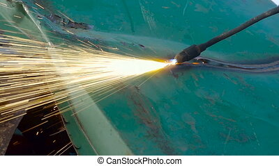 Gas Welder Cutting Metal Plate . Industrial Metal Recycling...