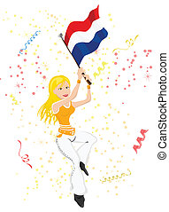 Holland Soccer Fan with flag Editable Vector Illustration
