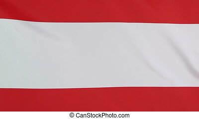Closeup of national flag of Austria in the wind