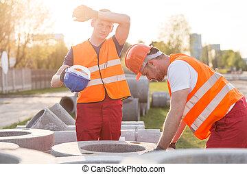 agotado, manual, trabajadores,